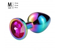 Анальная пробка  металл, розовый кристалл M